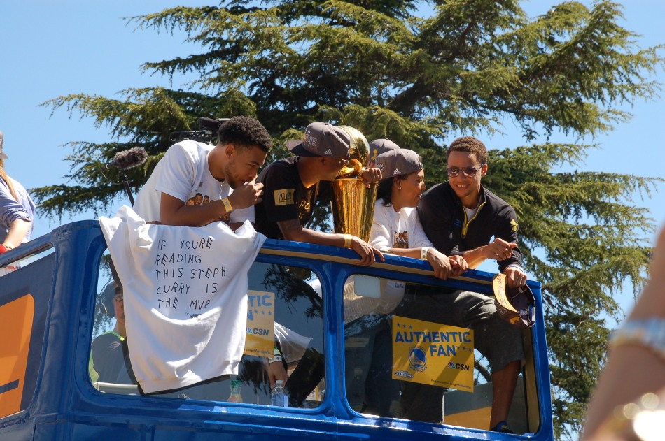 Stephen Curry on the team bus.