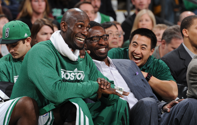 B-Doo (right) with Kevin Garnett and Jeff Green. Photo from bostonceltics.com.